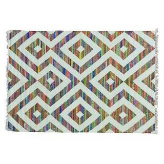 Flat Weave Kilim Cotton and Sari Silk Hand Woven Rug (5' x 7'1)