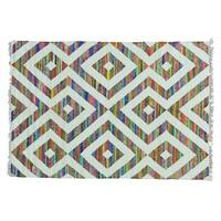 Flat Weave Kilim Cotton and Sari Silk Hand Woven Rug - Multi