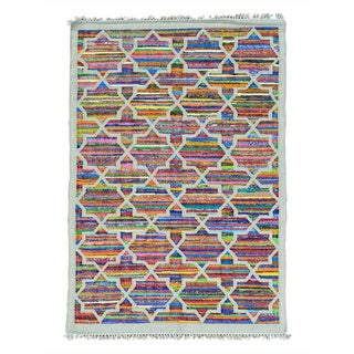 Cotton and Sari Silk Colorful Flat Weave Kilim Handmade Rug (5' x 7')