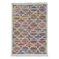 Cotton and Sari Silk Colorful Flat Weave Kilim Handmade Rug - Multi