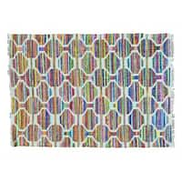 Geometric Flat Weave Kilim Cotton and Sari Silk Hand Woven Rug - Multi