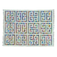 Hand Woven Colorful Kilim Cotton and Sari Silk Oriental Rug (5' x 6'9)