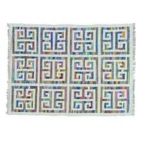 Hand Woven Colorful Kilim Cotton and Sari Silk Oriental Rug - Multi