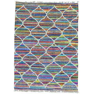 Hand Woven Cotton and Sari Silk Multicolored Kilim Rug (5' x 7')