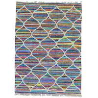 Hand Woven Cotton and Sari Silk Multicolored Kilim Rug - Multi