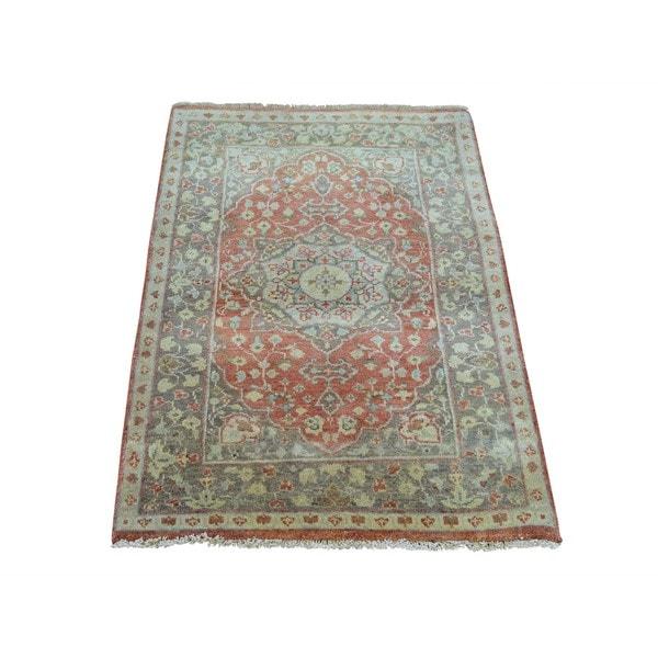 Antiqued Heriz Recreation Pure Wool Handmade Oriental Rug