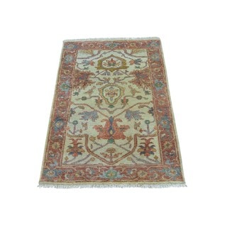 Pure Wool Antiqued Serapi Heriz Hand Knotted Oriental Rug (2'1 x 3'2)