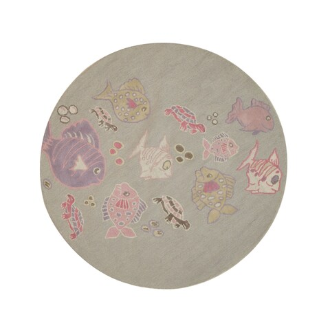 Hand-tufted Wool Gray Transitional Animal Kid's Fish & Turtle Rug (4' Round) - 4' Round