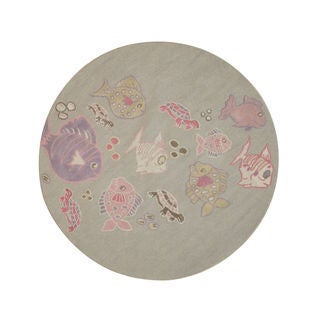 Hand-tufted Wool Gray Transitional Animal Kid's Fish & Turtle Rug (4' Round)