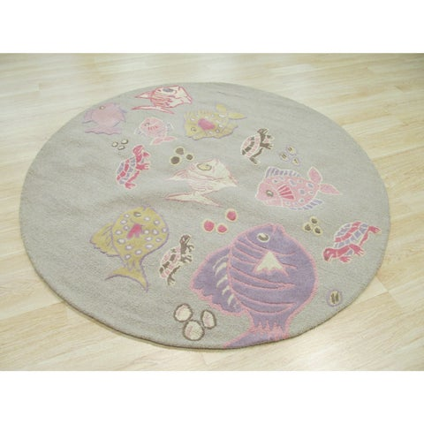 Hand-tufted Wool Gray Transitional Animal Kid's Fish & Turtle Rug (6' Round) - 6' Round