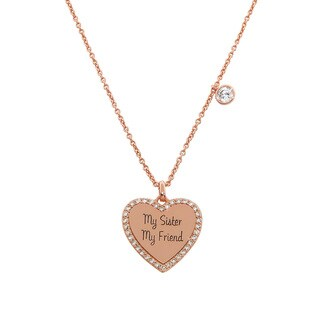 Eternally Haute Rose Goldplated Silver 'My Sister My Friend' Heart Charm Pendant