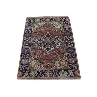Antiqued Serapi Heriz Recreation Pure Wool Hand Knotted Rug (2' x 3'2)