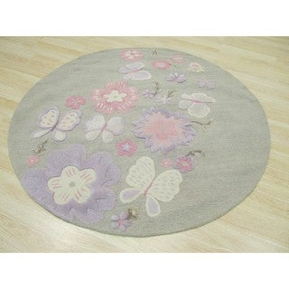 EORC Kid's Grey Hand Tufted Wool Butterfly Rug (4' Round)