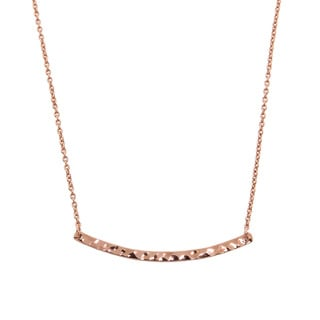 Eternally Haute 14k Rose Goldplated Hammered Sideways Bar Necklace