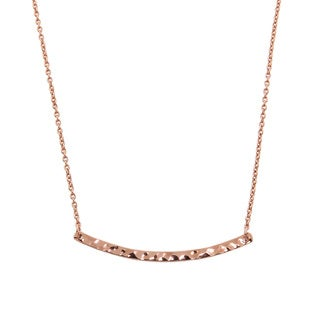 Eternally Haute Rose Gold Plated Hammered Sideways Bar Necklace