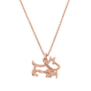 Eternally Haute 14k Rose Goldplated Pave Dog Necklace - Pink
