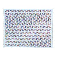 Colorful Handmade Flat Weave Kilim Cotton and Sari Silk Rug - 7'9 x 9'9