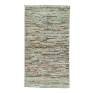Gabbeh Peshawar Hand Knotted Colorful Pure Wool Runner Rug (3'4 x 6')