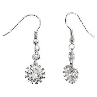 Eternally Haute Silver Overlay 8ct TGW Cubic Zirconia Snowflake Drop Earrings