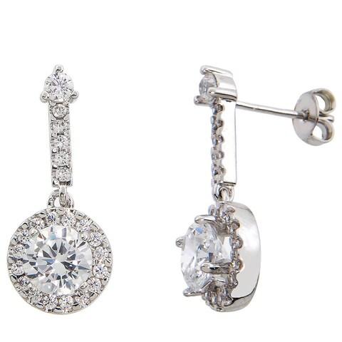 Eternally Haute Silver Overlay 5ct TGW Cubic Zirconia Pave Halo Drop Earrings