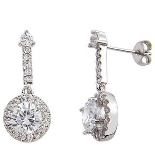 Eternally Haute Silver Overlay 5ct TGW Cubic Zirconia Pave Halo Drop Earrings
