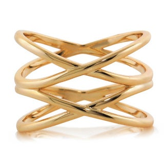 Eternally Haute 14k Goldplated Double Helix Cage Ring - Gold (Option: 5)