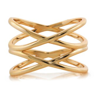 Eternally Haute 14k Goldplated Double Helix Cage Ring - Gold