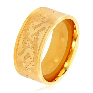 Men's Gold Plated Stainless Steel Etched Dragon Flat Band Ring - 10mm Wide