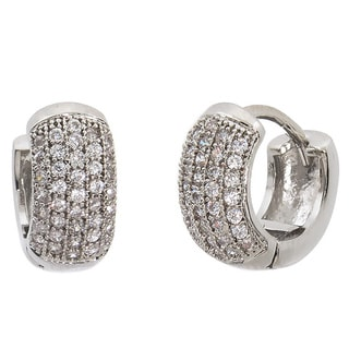 Eternally Haute Silvertone Rhodium-plated Pave Hoop Earrings