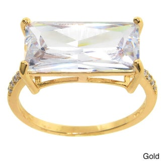 Eternally Haute 12ct TGW Pave Emerald-cut Cubic Zirconia Statement Ring - White (5 options available)