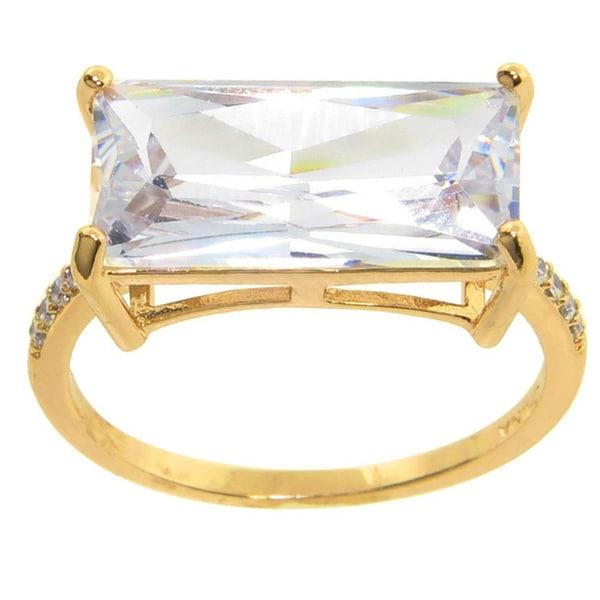 Eternally Haute 12ct TGW Pave Emerald-cut Cubic Zirconia Statement Ring - White