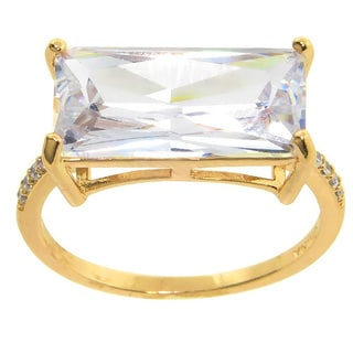 Eternally Haute 12ct TGW Pave Emerald-cut Cubic Zirconia Statement Ring