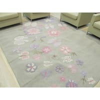 Hand-tufted Wool Gray Transitional Animal Kid's Butterfly Rug (3' x 5') - 3' x 5'