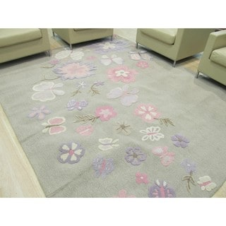 EORC Hand Tufted Wool Grey Kid's Butterfly Rug (4' x 6')