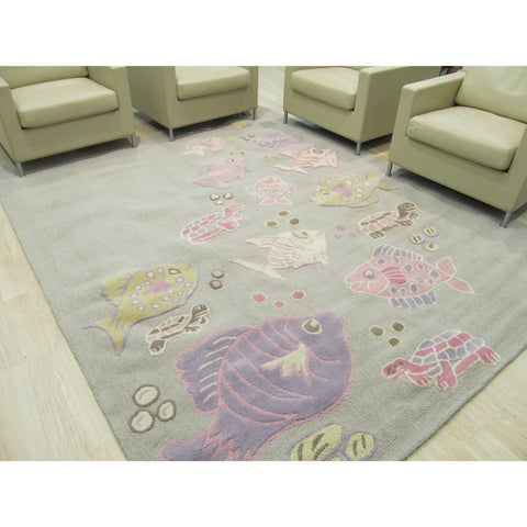 Hand-tufted Wool Gray Transitional Animal Kid's Fish & Turtle Rug - 3' x 5'
