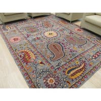 Hand-tufted Wool Blue Transitional Floral Paisley Rug - 5' x 8'