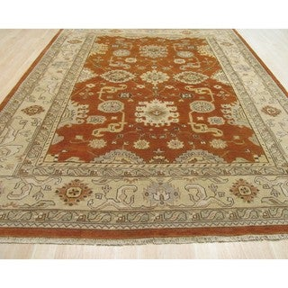 EORC Rust Hand Knotted Wool Oushak Rug (6' x 9')