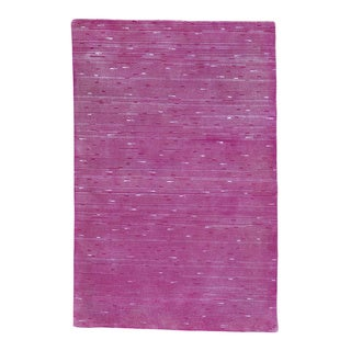 Pink Modern Wool and Silk Hand Knotted Oriental Rug (4' x 6')