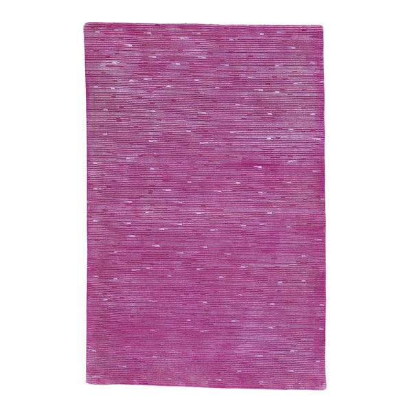 Wool Silk Rugs Contemporary: Shop Pink Modern Wool And Silk Hand Knotted Oriental Rug