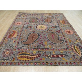 Hand-tufted Wool Blue Transitional Floral Paisley Rug (7'9 x 9'9)