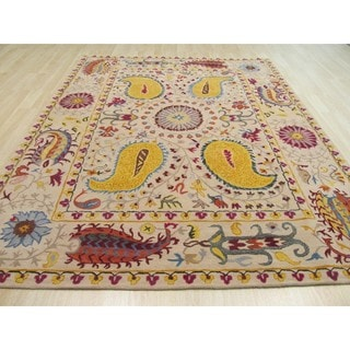 Hand-tufted Wool Ivory Transitional Floral Paisley Rug (7'9 x 9'9)