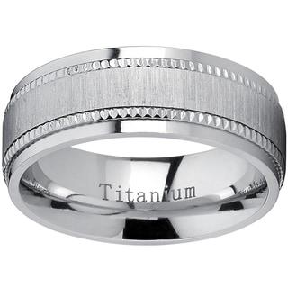 Oliveti Titanium Men's Comfort-fit Brushed Milgrain Wedding Band - Silver
