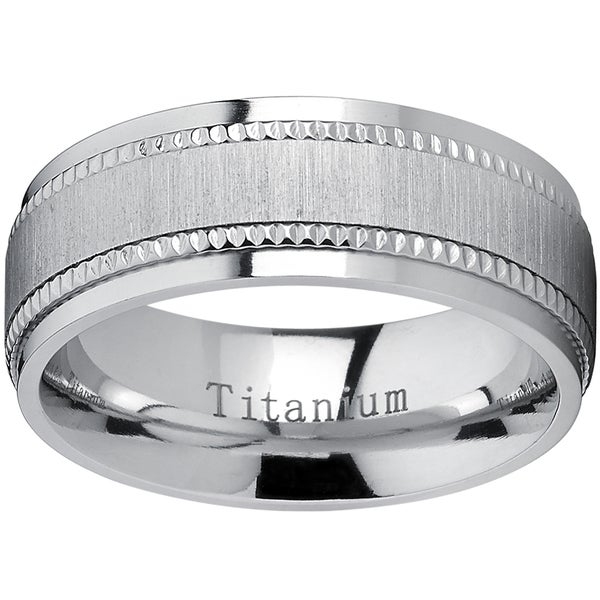 Oliveti Titanium Men's Comfort-fit Brushed Milgrain Wedding Band - Silver