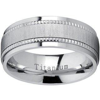 Oliveti Titanium Men's Comfort-fit Brushed Milgrain Wedding Band