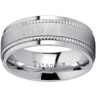 Oliveti Titanium Men's Comfort-fit Brushed Milgrain Wedding Band - Silver|https://ak1.ostkcdn.com/images/products/11688224/P18614056.jpg?impolicy=medium