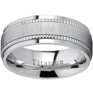Oliveti Titanium Men's Comfort-fit Brushed Milgrain Wedding Band - Silver (More options available)