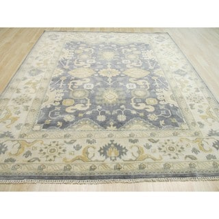 EORC Blue Hand Knotted Wool Oushak Rug (8' x 10')