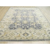 Hand-knotted Wool Blue Traditional Oriental Oushak Rug (8' x 10') - 8' x 10'