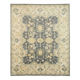 Hand-knotted Wool Blue Traditional Oriental Oushak Rug (9' x 12')