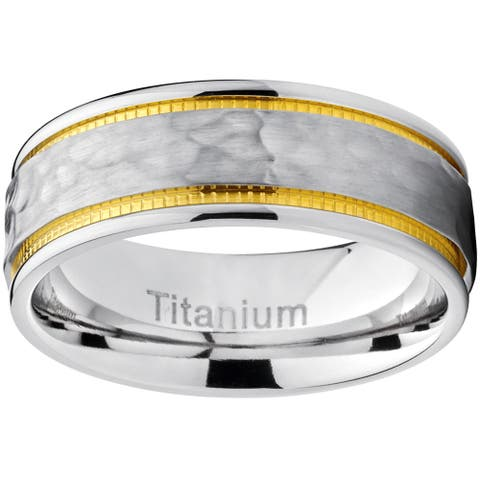 Oliveti Titanium Men's Comfort-fit Hammered Brushed Milgrain Ring